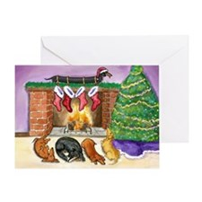 Dachshund Stockings Christmas Card
