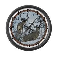 Mature Mule deer bucks Large Wall Clock