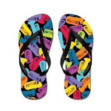 Colorful Tubas Flip Flops