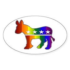 Rainbow Donkey Oval Decal