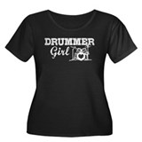 Drummer Girl Women's Plus Size Scoop Neck Dark T-S