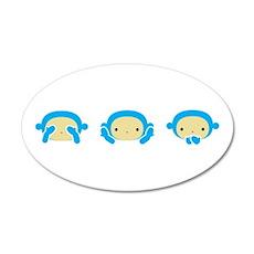 3 Wise Monkeys 38.5 x 24.5 Oval Wall Peel