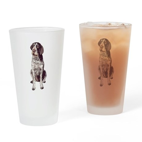 german wirehaired Pointer sit Drinking Glass