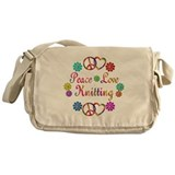 Peace Love Knitting Messenger Bag