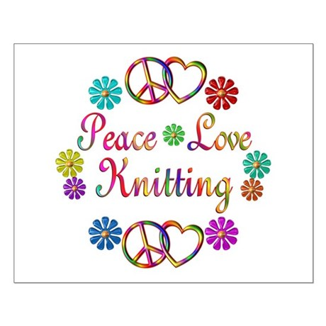 Peace Love Knitting Small Poster