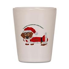 A Merry Dachshund Christmas Candy Cane Santa Shot