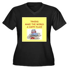 trains Women's Plus Size V-Neck Dark T-Shirt