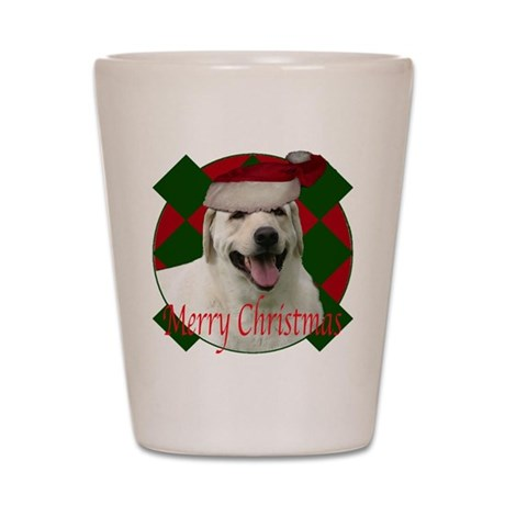 Happy lab christmas Shot Glass