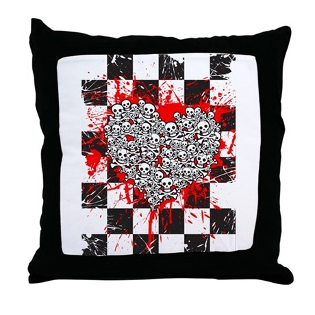 Emo Ska Skull Heart Throw Pillow