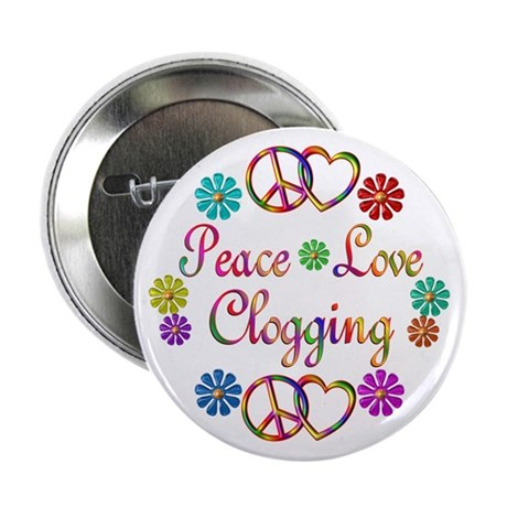 "Peace Love Clogging 2.25"" Button (100 pack)"