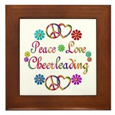 Peace Love Cheerleading Framed Tile