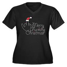 Merry Fucking Christmas Women's Plus Size V-Neck D