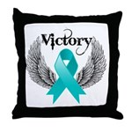 Victory Ovarian Cancer Throw Pillow