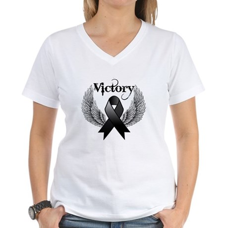 Victory Skin Cancer Women's V-Neck T-Shirt