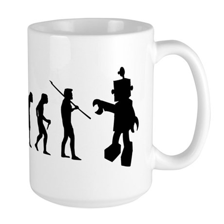Robot Evolution Go Back Large Mug