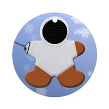 Gingerbread Fencer Epee Round Ornament