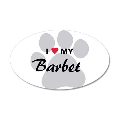 I Love My Barbet 38.5 x 24.5 Oval Wall Peel