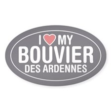 I Love My Bouvier des Ardennes Oval Sticker/Decal
