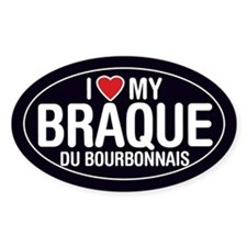 I Love My Braque du Bourbonnais Oval Sticker/Decal