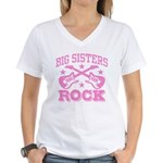 Big Sisters Rock Women's V-Neck T-Shirt