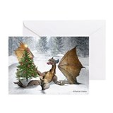 Dragon Christmas Tree Greeting Cards Greeting Card