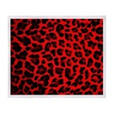 Red &amp;amp; Black Leopard Print Throw Blanket