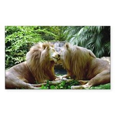 Affectionate Lions Sticker (Rectangular)