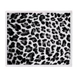 Black &amp;amp; White Leopard Print Throw Blanket