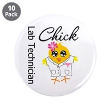 "Lab Technician Chick 3.5"" Button (10 pack)"