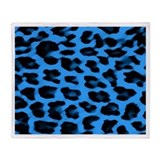 Dark Blue Leopard Print Throw Blanket