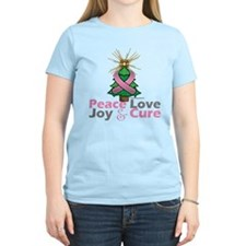 Breast Cancer Xmas Tree Ribbon T-Shirt