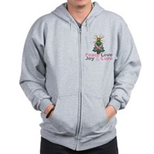 Breast Cancer Xmas Tree Ribbon Zip Hoodie