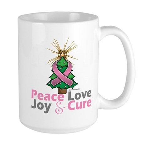 Breast Cancer Xmas Tree Ribbon Large Mug