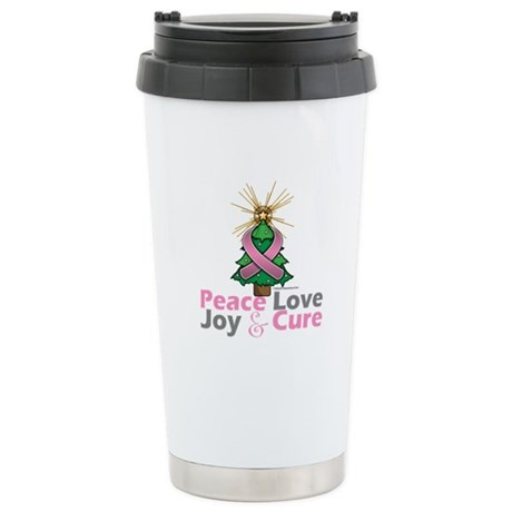 Breast Cancer Xmas Tree Ribbon Ceramic Travel Mug