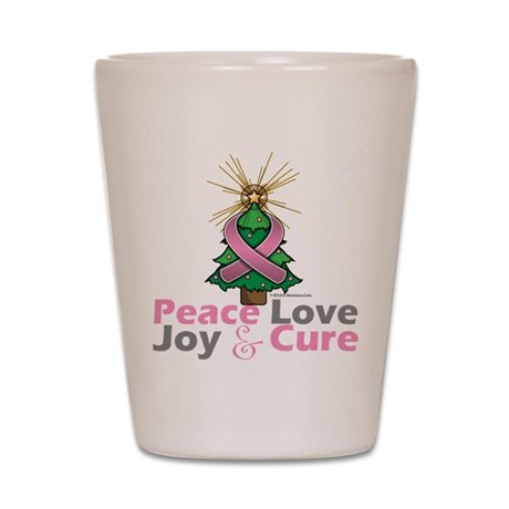 Breast Cancer Xmas Tree Ribbon Shot Glass