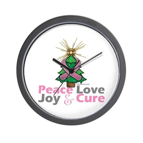 Breast Cancer Xmas Tree Ribbon Wall Clock