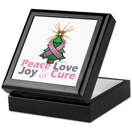 Breast Cancer Xmas Tree Ribbon Keepsake Box