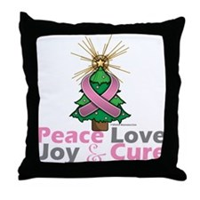 Breast Cancer Xmas Tree Ribbon Throw Pillow