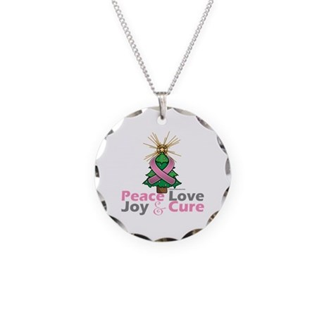 Breast Cancer Xmas Tree Ribbon Necklace Circle Cha