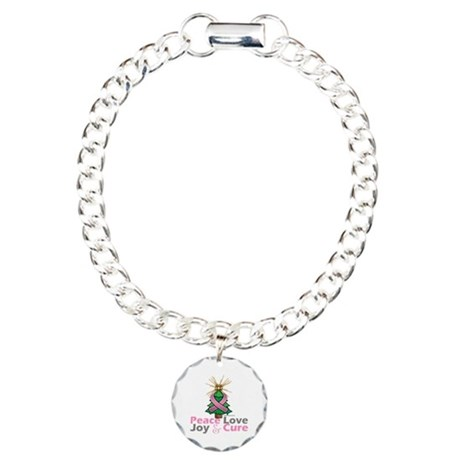 Breast Cancer Xmas Tree Ribbon Charm Bracelet, One