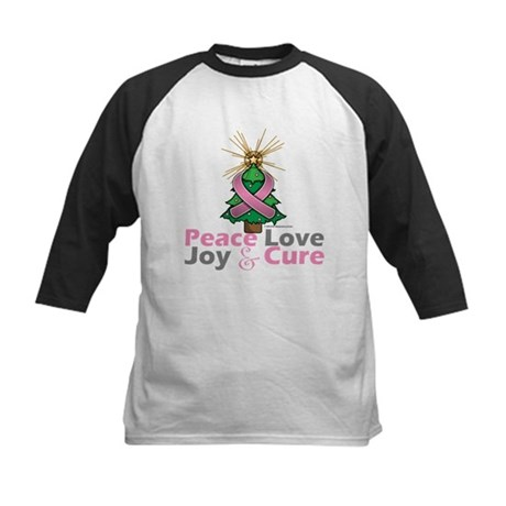 Breast Cancer Xmas Tree Ribbon Kids Baseball Jerse