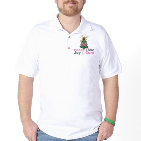 Breast Cancer Xmas Tree Ribbon Golf Shirt