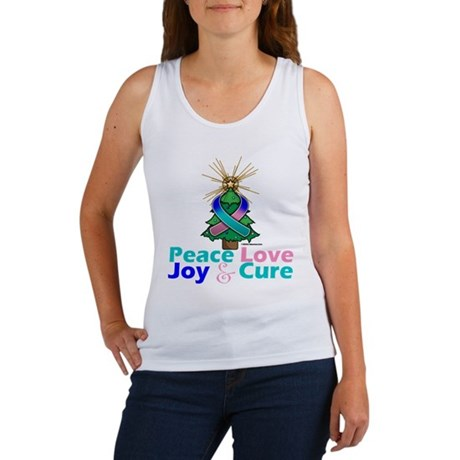 Thyroid Cancer Xmas Tree Ribbon Women's Tank Top