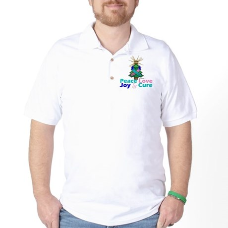 Thyroid Cancer Xmas Tree Ribbon Golf Shirt