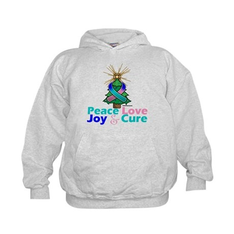 Thyroid Cancer Xmas Tree Ribbon Kids Hoodie