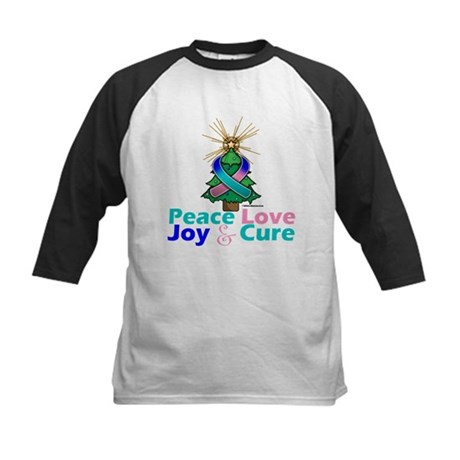 Thyroid Cancer Xmas Tree Ribbon Kids Baseball Jers
