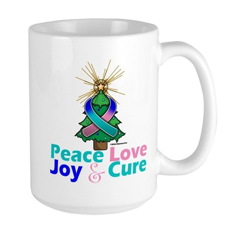 Thyroid Cancer Xmas Tree Ribbon Large Mug