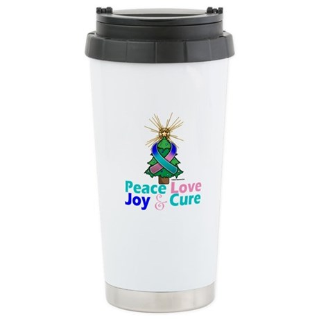 Thyroid Cancer Xmas Tree Ribbon Ceramic Travel Mug