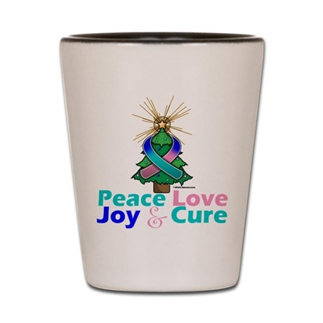 Thyroid Cancer Xmas Tree Ribbon Shot Glass