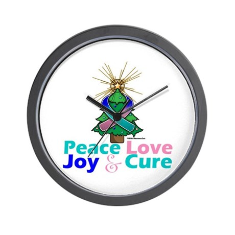 Thyroid Cancer Xmas Tree Ribbon Wall Clock